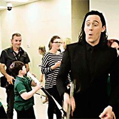Loki wields Thor's hammer. Gif-set: http://maryxglz.tumblr.com/post/150044325547