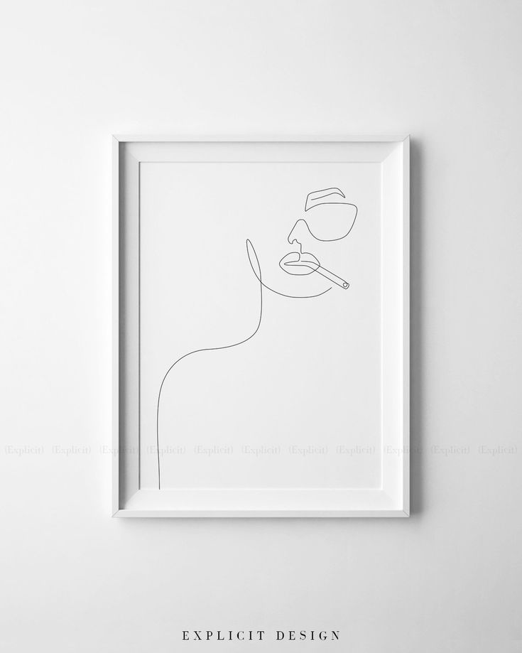 Printable Girl Face Outline Sketch, One Line Sunglasses Drawing Print, Feminist Artwork, Single Lined Woman Poster, Minimalist Smoking Art