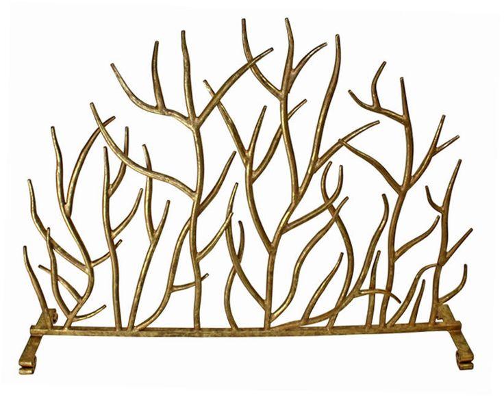 "FIREPLACE SCREENS - ""SHERWOOD FOREST"" DECORATIVE FIRE SCREEN - ITALIAN GOLD - Kensington Row Collection"