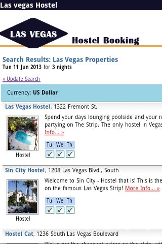 Las vegas Hostel Booking. Easy Stay at USA Instant confirmed with just 10% deposit . Application link database from Hostelworld and Guesthouse Booker to find more than 1000 budget hotel and hostels around Las vegas.Find cheap hostel and just 10% deposit ,you will got instant confirmation.The app is require internet after you selected location and detail. The App design for less Bandwidth GPRS or 3G to make it load faster.  http://Mobogenie.com