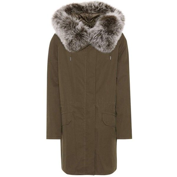 Yves Salomon - Army Fur-Trimmed Cotton Parka (£1,121) ❤ liked on Polyvore featuring outerwear, coats, green, short, fur trim parka, green parka coat, cotton parka, cotton coat and brown coat