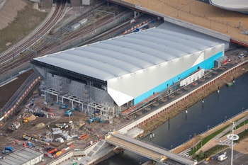 The Water Polo (temporary) Arena has an inflatable plastic roof an is the first Olympic venue built solely for water polo.