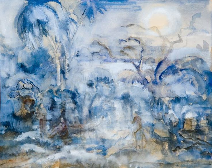 Maxim Kopf - A night in Tahiti (1924), watercolour on paper, 325 x 410 mm