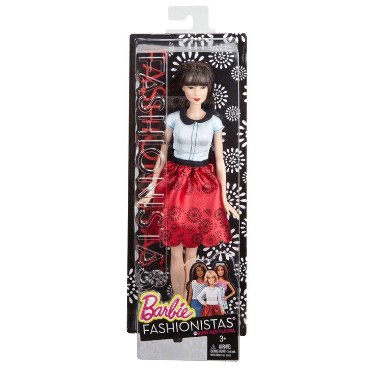 Ze heeft lang donker haar, rode lippen en smalle ogen. Zo'n soort Barbie heb jij vast nog niet!Afmetingen: verpakking 33 x 13 x 6,5 cm. - Barbie Fashionista Ruby Red Flora BT