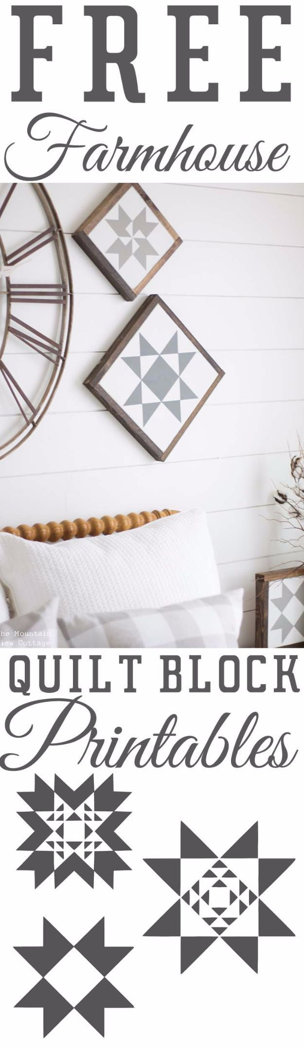 Free Printables For Your Walls - Free Farmhouse Quilt Block Printables - Best Free Prints for Wall Art and Picture to Print for Home and Bedroom Decor - Ideas for the Home, Organization - Quotes for Bedroom and Kitchens, Vintage Bathroom Pictures - Downloadable Printable for Kids - DIY and Crafts by DIY JOY http://diyjoy.com/free-printables-walls #ArtAndCraftBedroom