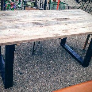bois ancien table monastère vitadeco chêne pied acier fonte industrielle puces du canal lyon