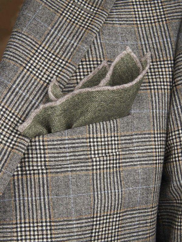 Green wool Italian pocket handkerchief by Rosi Collection