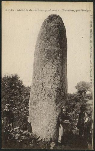 Menhir de Quéranpeulven, prés Huelgoat  E Hamonic, St B (5145) (49) green reverse