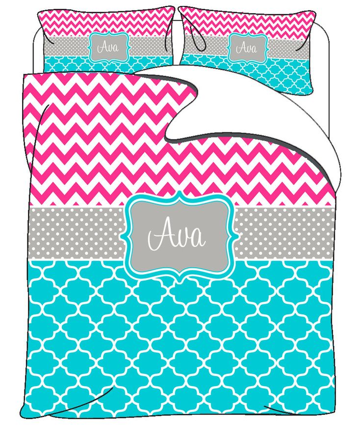 Custom Personalized Chevron-Quatrefoil Bedding - Hot Pink & Turquoise -Available in Toddler Twin, Tw XL, Queen or King Duvet or Comforter by redbeauty on Etsy https://www.etsy.com/listing/225691515/custom-personalized-chevron-quatrefoil