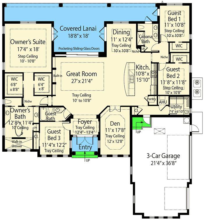 Net Zero Ready Mediterranean Home Plan with Grand Master Suite - 33198ZR floor plan - Main Level