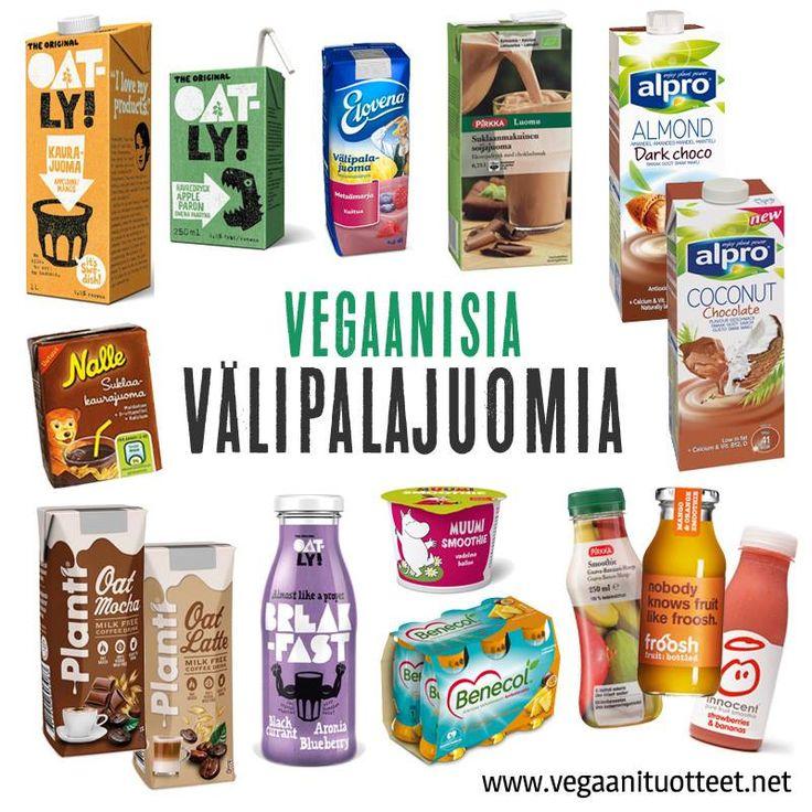 Vegaaneille sopivia juotavia eväitä eli maustettuja kasvimaitoja, kaakaoita, välipalajuomia ja smoothieita.  Lisää löytyy: http://www.vegaanituotteet.net/perusruuat/valipalat http://www.vegaanituotteet.net/perusruuat/kasvimaitotuotteet