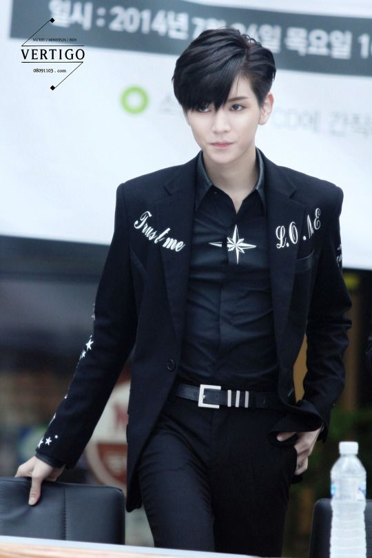 Choi Minki also known as Ren of Nu'est  I love this outfit on him, it's so attractive.  He looks beautiful as ever.