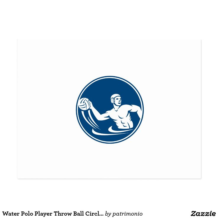 Water Polo Player Throw Ball Circle Icon Postcard. Icon illustration of a water polo player throwing ball set inside circle on isolated background done in retro style. #waterpolo #olympics #sports #summergames #rio2016 #olympics2016