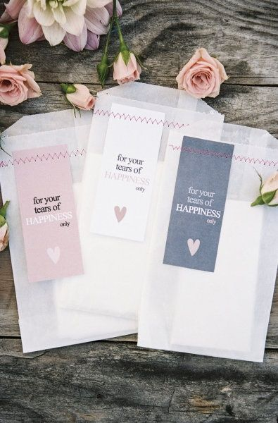 "Tissues for tears of happiness | Wedding We had this for my niece's wedding. I hand wrote ""Tears of Joy"" on them!"