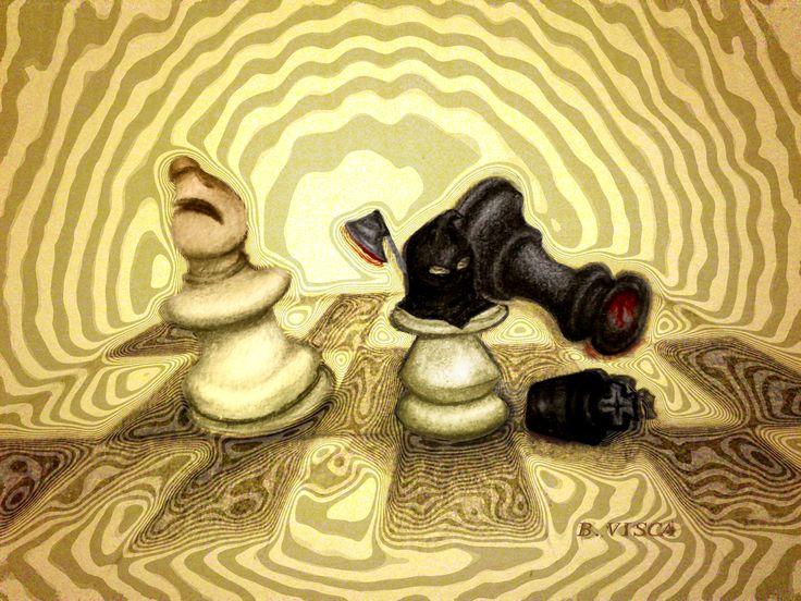 """Barbara Visca #drawings #sketch serie """"scacchi"""" #visca #chess #suminagashi"""