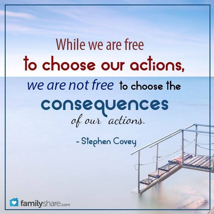LIKE and SHARE if you agree with Stephen R. Covey http://pinterest.com/pin/24066179228855335 that while we are blessed with the freedom to choose our actions in life, we are not free from the natural result and consequences that come of those decisions. … Enjoy more from Dr. Covey http://facebook.com/pages/Stephen-R-Covey/186870734710016