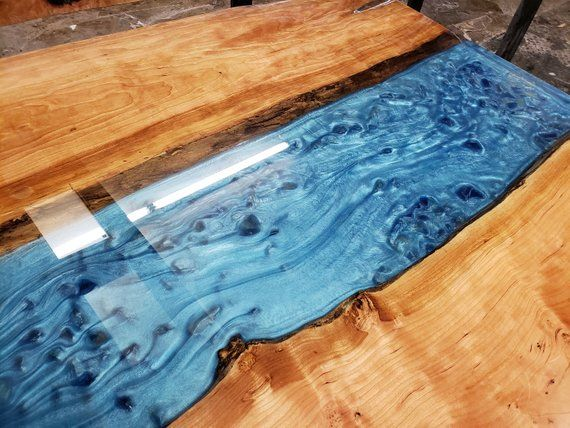 Live Edge Epoxy River Cocktail Table Etsy Glass Waterfall