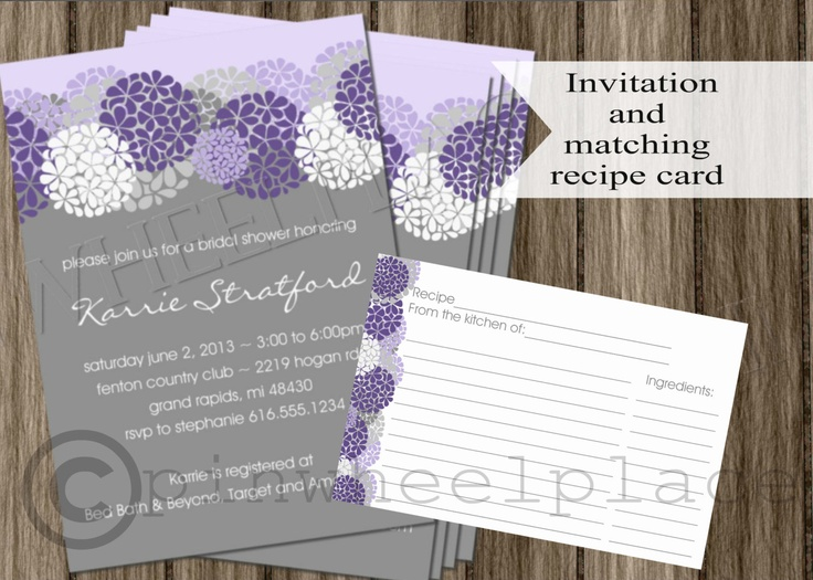 Items Similar To Lavender Bridal Shower Invitation And Matching Recipe Card Set DIY Printable Wedding Invite Purple Hydrangeas Floral On Etsy