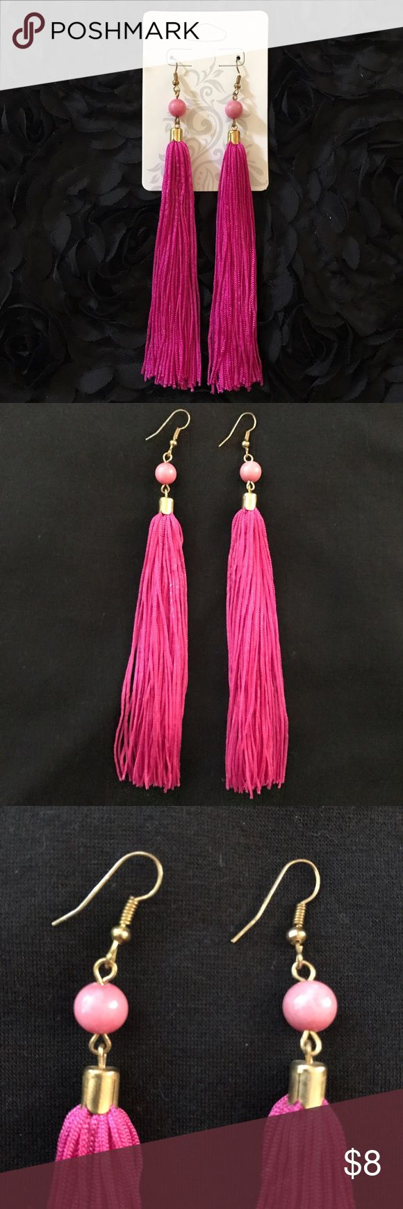 Hot Pink Tassel Earrings ☘️Item #: 16 ☘️Hot Pink Tassel Earrings. Never worn but no tag any more. ☘️FAST SHIPPING: same day | next morning depending on when purchased. ☘️BUNDLED DISCOUNTS! Jewelry Earrings