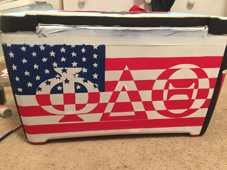 Phi delta theta American flag painted cooler
