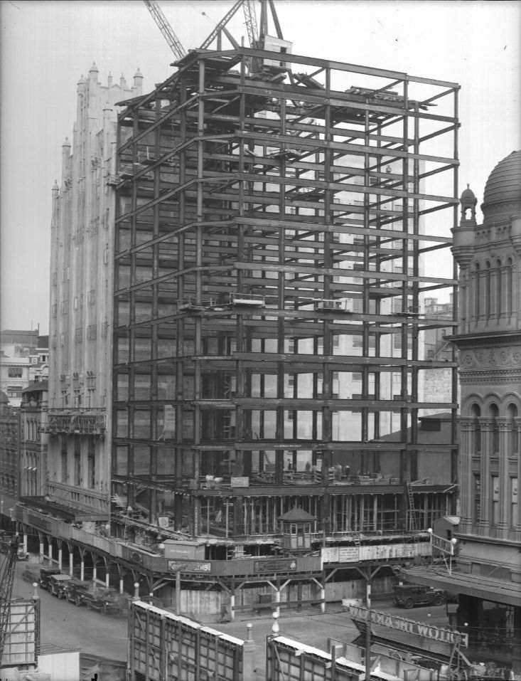 Construction of the Gowings Building c1920 corner George & Market Sts, Sydney
