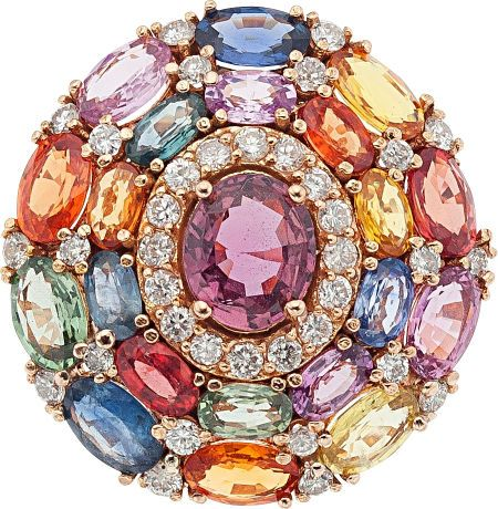 Garnet, Multi-Color Sapphire, Diamond, Pink Gold Ring The ring features an oval-cut garnet measuring 8.07 x 6.82 x 3.87 mm and weighing approximately 1.65 carats, enhanced by multi-colored oval-shaped sapphires weighing a total of approximately 7.60 carats, accented by full-cut diamonds weighing a total of approximately 0.70 carat, set in 14k pink gold. Gross weight 10.60 grams.