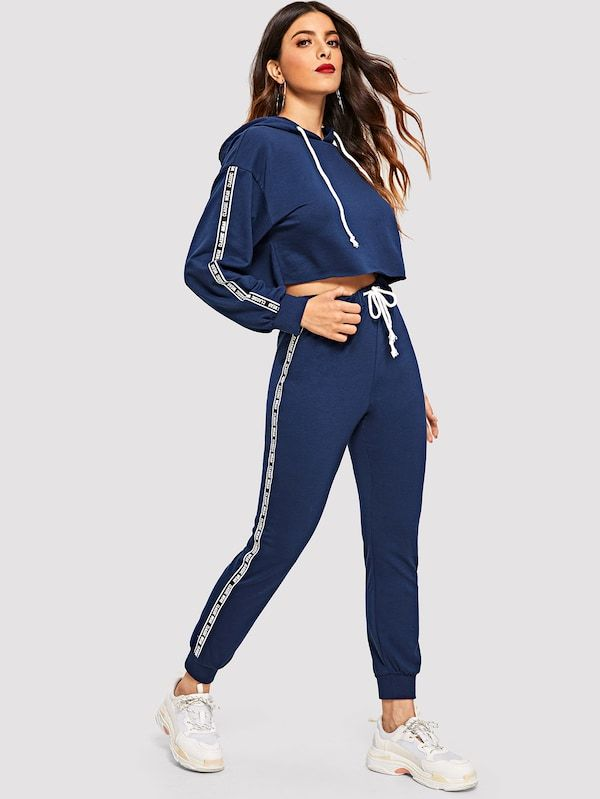 Conjunto Capucha Con Estampado De Letra Con Pantalones Deportivos De Cintura Con Cordon Ropa Deportiva Mujer Ropa Deportiva Adidas Ropa