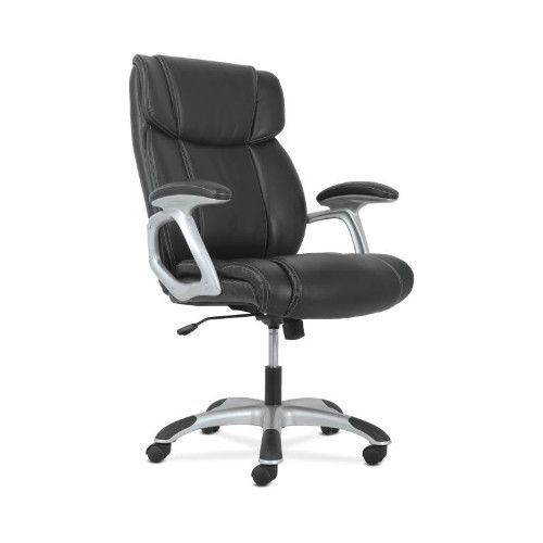 basyx by HON High-Back Executive Chair in Black Leather/Silver Frame