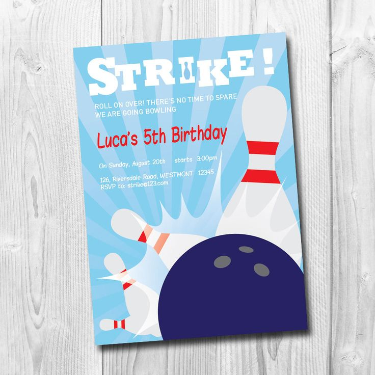 Bowling Party Invitation, Let's BOWL Invitation, Kids Bowling party, Birthday Party Card, printable by labmstudio on Etsy