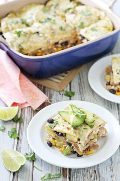 Vegetable Enchilada Casserole with Salsa Verde - Cookie Monster Cooking