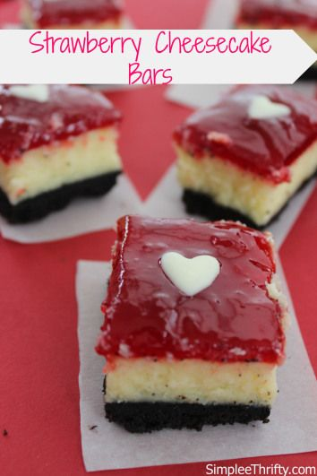 Strawberry Cheesecake Bars: YUMMY!! These are amazing! I love cheesecake and strawberry and this is the perfect combination. Try these out for a Valentines Day Treat!
