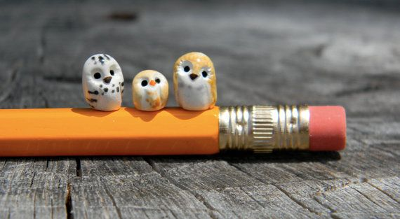 3 Clay Elf Owls: Harry Potter Inspired Owlery, micro owls miniatures.