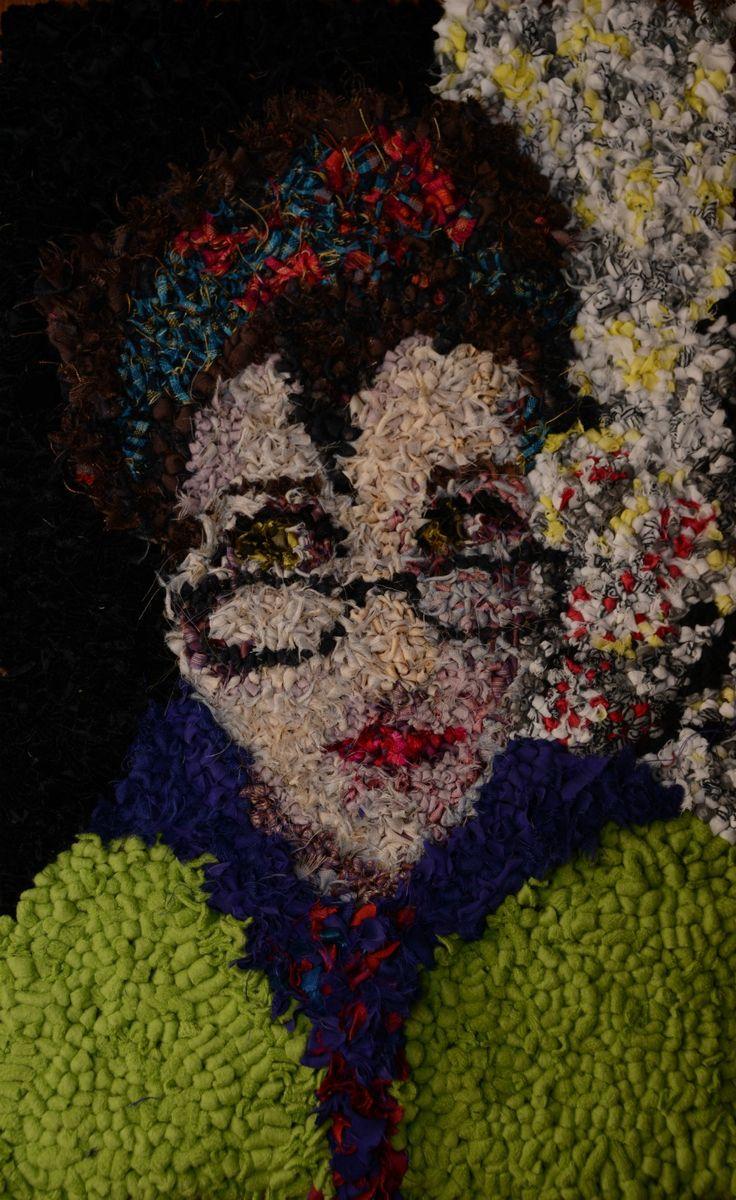 Rag Rug Selfie , textile art , upcycled art , fiber art. Artist is Victoria Goulden.