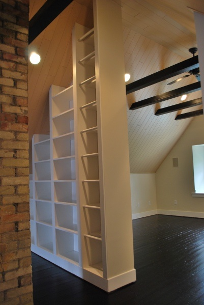 divider bookshelves...when i move the kitchen to the garage or when we do the addition