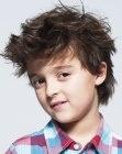 Easy care boys haircut. Good easy care hairstyle for boys with thick and coarse hair. More haircuts for boys: http://www.hairfinder.com/kidshairstyles/hairstyles_for_boys.htm
