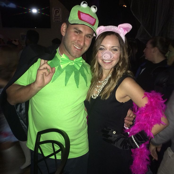 Miss Piggy and Kermit.   Halloween costume