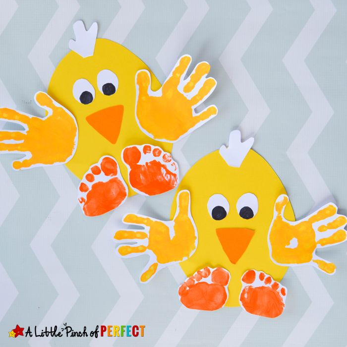 cheerful bright chick collages, made from egg-shaped pieces of yellow paper, easter crafts for preschoolers, decorated with children's hand and toe prints