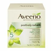 Boosts the 5 Factors of Radiance ™ AVEENO� Positively Radiant� Intensive Night Cream is shown to give you an extra boost on all 5 Factors of Radiance – tone, textrue, dullness, blotchiness and brown spots.� This hydrating night cream contains a proven concentration of Active Naturals� Total Soy Complex boosted with tone-evening vitamin B3 to help keep you looking fresh and luminous.