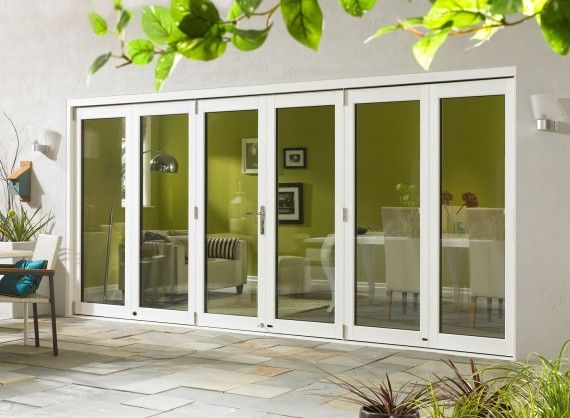 Ultra External Sliding Folding Doors, double glazed in White Aluminium and Oak. Available in 4.2M (14ft) and 4.8M (16ft).