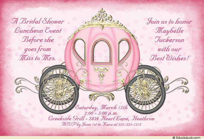Starry Pink Fairytale Bridal Luncheon Invitation