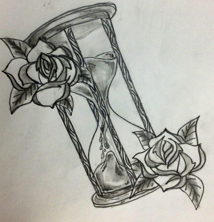 Disegno per tattoo clessidra con rose tatto pinterest for Disegni paesaggi semplici
