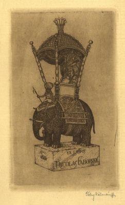 Bookplate by Kálmán Tichy for Nicolas Faborsky, 1910c.