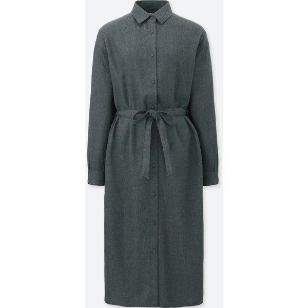 UNIQLO Women's Flannel Long-sleeve Shirt Dress (1 055 UAH) ❤ liked on Polyvore featuring dresses, grey, grey long sleeve dress, long sleeve dress, long shirt dress, flannel dress and uniqlo dress