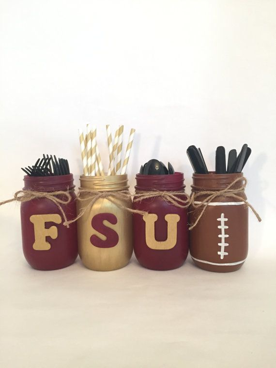 FSU Mason Jars, FSU Decor, Florida State Decor, Florida Mason Jars, Seminoles , Florida State University Seminoles, FSU Mason Jars