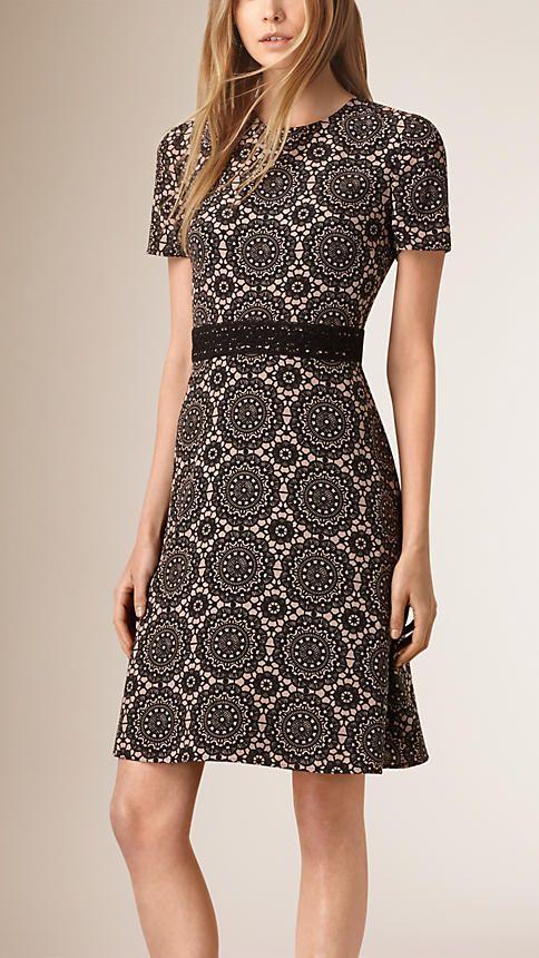 Nude/black Lace Print Silk Shift Dress - Image 1
