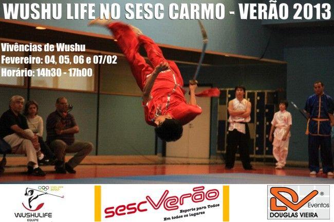 Apresentação e Vivência de Kung Fu Wushu no SESC CARMO, com a Equipe Wushulife (Tonlon Academia). Aberto a todos! Vivência de Wushu Dias: 04, 05, 06 e 07 de Fevereiro Horário: 14h30 - 17h00