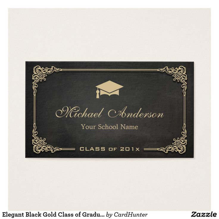 business letter format with enclosure%0A Elegant Black Gold Class of Graduate Student Business Card