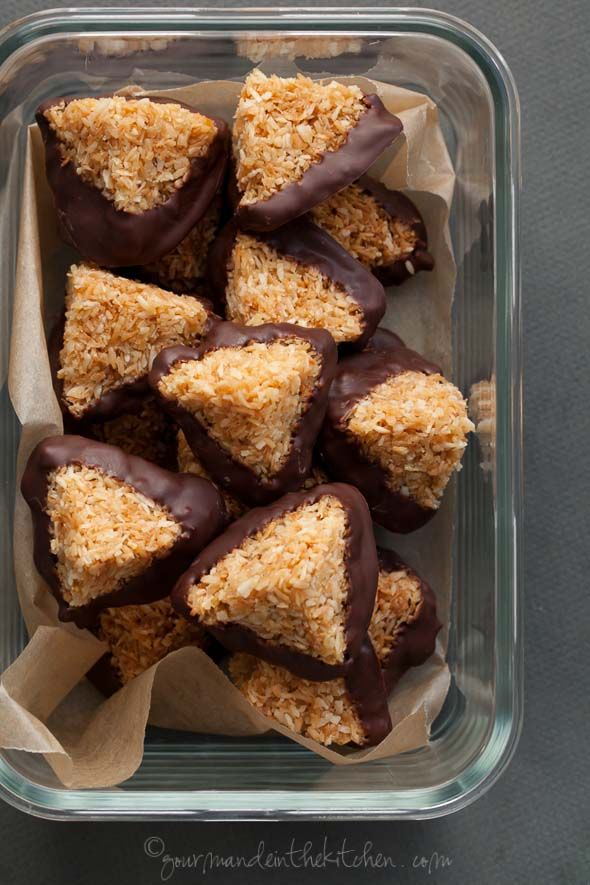 These caramel coconut haystacks (aka vegan macaroons) are dipped in bittersweet chocolate and are made in about 30 minutes!