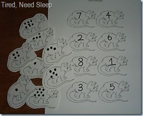 math game -- linked to prekinders -- lots of other ideas for dino themed activities