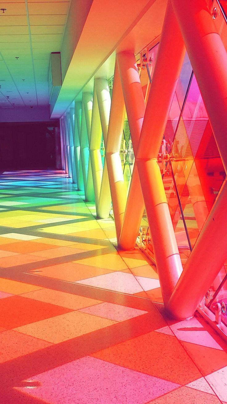 Miami airports colored glass window